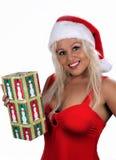 6 blondynek pomagier s Santa seksowny Zdjęcia Stock