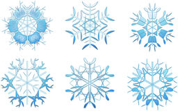 6 blue snowflakes Stock Images