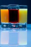 6 boissons non alcoolisées de jus de fruit Photographie stock libre de droits