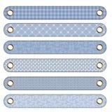 6 boutons bleus de drapeau différents Photo stock
