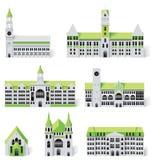 6 budynków miasta tworzenia diy zestawu mapy część ilustracji