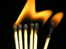 6 Burning Matches Royalty Free Stock Photography