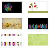 6 cartões com copyspace Foto de Stock
