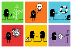 6 characters - business & concepts. Vector hand drawn black characters on colors royalty free illustration