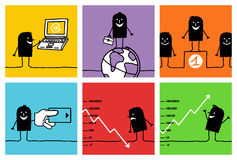 6 characters - business & concepts. Vector hand drawn black characters on colors vector illustration