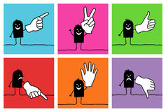 6 characters - hand signs. Vector hand drawn black characters on colors stock illustration