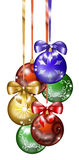 6 Christmas balls. A group of six Christmas balls with ribbons. Digital Illustration Stock Images