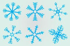 6 Christmas snowflakes Royalty Free Stock Photography