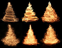 6 christmas trees. A collection of abstract golden christmas tree designs royalty free illustration