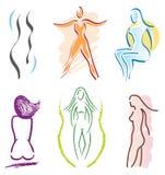 6 ciała ikony ustawiająca sportów kobieta ilustracja wektor