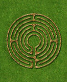 6 circuit labyrinth. Meditation 6 circuit labyrinth illustrate with stone / brick / grass Stock Photography
