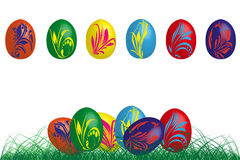 6 Colorful easter eggs with flowers. 6 easter eggs in different colors, vector illustration Stock Photography