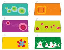 6 colorful funky pouches/bags stock illustration
