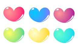 6 colorful hearts set isolated on white background. Heart shape in 6 colours isolated on white bacground - vector illustration full of love stock illustration