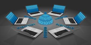 6 computadoras portátiles en una red Imágenes de archivo libres de regalías