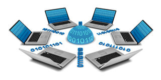 6 computadoras portátiles en una red Imagen de archivo libre de regalías