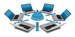 6 computer portatili in una rete Immagine Stock Libera da Diritti