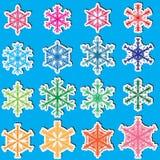 6 copos de nieve Set_eps de las caras Fotografía de archivo