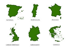 6 countries eu. On the white background Stock Photography