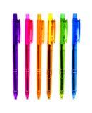 6 crayons lecteurs au néon Photos stock