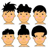 6 Cute Caucasian Kids Vector Illustration Stock Photography