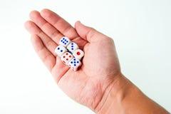 6 dados na mão do homem com branco isolado Imagem de Stock