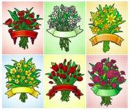 6 de groetkaarten van het bloemboeket Stock Afbeeldingen