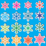 6 de Sneeuwvlokken Set_eps van kanten Stock Fotografie