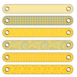 6 different buttons or banner. With yellow, beige and blue pattern Vector Illustration