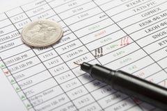 6 dokumentu długopis monet Obrazy Stock