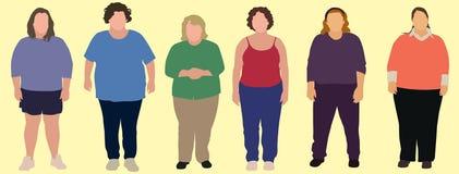 6 donne di peso eccessivo Immagini Stock Libere da Diritti