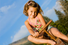 6 dziewczyny mały seesaw Zdjęcie Royalty Free