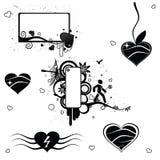 6 elementos del extracto de la tarjeta del día de San Valentín del vector Imagenes de archivo