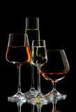 6 exponeringsglas wine Royaltyfri Bild