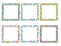 6 färgrika ramar Arkivbilder