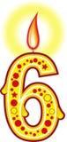 6 födelsedag stearinljus Royaltyfri Bild