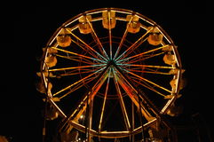 6 ferris夜间轮子 免版税库存照片