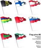 6 flaggastift stock illustrationer