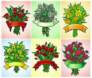6 flower bouquet greeting cards. 6 greeting cards with flowers and banners Stock Images
