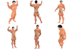6 For The Price Of 1! Body Builder 3D (with Clipping Paths) Stock Image