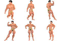6 For The Price Of 1! Body Builder 3D (with Clipping Paths) Stock Photo