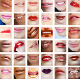 6 Frauenlippennahaufnahme Stockfotos