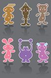 6 funny cartoon icons Stock Image