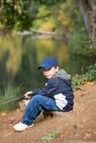 6 gammala år för pojkefisher Royaltyfri Foto