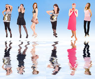 6 girls reflected Stock Photo