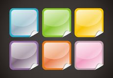 6 Glossy Web Buttons. On black background Stock Image