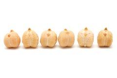 6 grões do grão-de-bico Fotografia de Stock Royalty Free