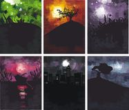 6 grungy backgrounds in vector. Set of black grungy backgrounds Stock Images