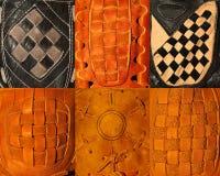 6 guanti di baseball Fotografia Stock