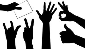 6 hand silhouettes Royalty Free Stock Photography